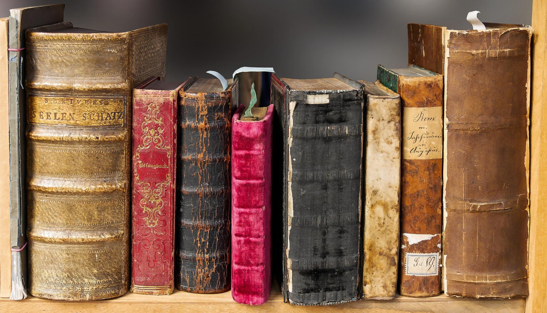 Schöne, alte Bücher in einem Regal